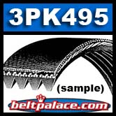 3PK495 BANDO Automotive Micro-V Belt. Replaces Gates K030195, Dayco 5030195, Jobber 195K3.