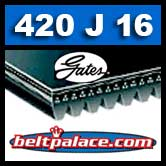 420J16 GATES MICRO-V Belt, Metric 16-PJ1067 Motor Belt.