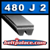 "480J2 Poly-V Belt (Micro-V): Metric 2-PJ1219 Motor Belt. 48"" L, 2 Ribs."