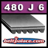 480J6 Poly-V Belt (Standard Duty), Metric 6-PJ1219 Motor Belt.