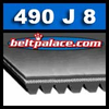 490J8 Poly-V Belt. Metric 8-PJ1245 Motor Belt.
