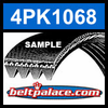 4PK1068 Automotive Serpentine (Micro-V) Belt: 1068mm x 4 ribs. 1068mm Effective Length.