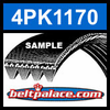 4PK1170 Automotive Serpentine (Micro-V) Belt: 1170mm x 4 ribs. 1170mm Effective Length.