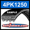 4PK1250 Automotive Serpentine (Micro-V) Belt: 1250mm x 4 ribs. 1250mm Effective Length.