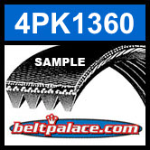 4PK1360 Automotive Serpentine (Micro-V) Belt: 1360mm x 4 ribs. 1360mm Effective Length.
