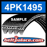 4PK1495 Automotive Serpentine (Micro-V) Belt: 1495mm x 4 ribs. 1495mm Effective Length.
