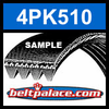 4PK510 Automotive Serpentine (Micro-V) Belt: 510mm x 4 ribs. 510mm Effective Length.