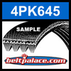 4PK645 Automotive Serpentine (Micro-V) Belt: 645mm x 4 ribs. 645mm Effective Length.