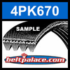 4PK670 Automotive Serpentine (Micro-V) Belt: 670mm x 4 ribs. 670mm Effective Length.