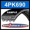 4PK690 Automotive Serpentine (Micro-V) Belt: 690mm x 4 ribs. 690mm Effective Length.