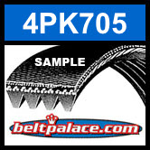 4PK705 Automotive Serpentine (Micro-V) Belt: 705mm x 4 ribs. 705mm Effective Length.