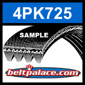 4PK725 Automotive Serpentine (Micro-V) Belt: 725mm x 4 ribs. 725mm Effective Length.
