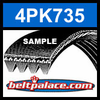 4PK735 Automotive Serpentine (Micro-V) Belt: 735mm x 4 ribs. 735mm Effective Length.