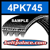 4PK745 Automotive Serpentine (Micro-V) Belt: 745mm x 4 ribs. 745mm Effective Length.