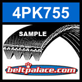 4PK755 Automotive Serpentine (Micro-V) Belt: 755mm x 4 ribs. 755mm Effective Length.