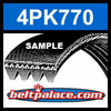 4PK770 Automotive Serpentine (Micro-V) Belt: 770mm x 4 ribs. 770mm Effective Length.