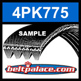 4PK775 Automotive Serpentine (Micro-V) Belt: 775mm x 4 ribs. 775mm Effective Length.