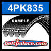 4PK835 Automotive Serpentine (Micro-V) Belt: 835mm x 4 ribs. 835mm Effective Length.