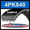 4PK840 Automotive Serpentine (Micro-V) Belt: 840mm x 4 ribs. 840mm Effective Length.