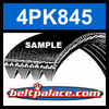 4PK845 Automotive Serpentine (Micro-V) Belt: 845mm x 4 ribs. 845mm Effective Length.