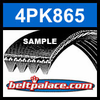 4PK865 Automotive Serpentine (Micro-V) Belt: 865mm x 4 ribs. 865mm Effective Length.