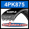 4PK875 Automotive Serpentine (Micro-V) Belt: 875mm x 4 ribs. 875mm Effective Length.