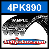 4PK890 Automotive Serpentine (Micro-V) Belt: 890mm x 4 ribs. 890mm Effective Length.