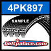 4PK897 Automotive Serpentine (Micro-V) Belt: 897mm x 4 ribs. 897mm Effective Length.