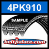 4PK910 Automotive Serpentine (Micro-V) Belt: 910mm x 4 ribs. 910mm Effective Length.