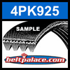 4PK925 Automotive Serpentine (Micro-V) Belt: 925mm x 4 ribs. 925mm Effective Length.