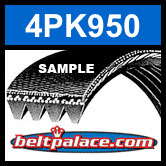 4PK950 Automotive Serpentine (Micro-V) Belt: 950mm x 4 ribs. 950mm Effective Length.