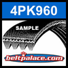 4PK960 Automotive Serpentine (Micro-V) Belt: 960mm x 4 ribs. 960mm Effective Length.