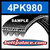 4PK980 Automotive Serpentine (Micro-V) Belt: 980mm x 4 ribs. 980mm Effective Length.