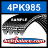 4PK985 Automotive Serpentine (Micro-V) Belt: 985mm x 4 ribs. 985mm Effective Length.