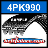 4PK990 Automotive Serpentine (Micro-V) Belt: 990mm x 4 ribs. 990mm Effective Length.