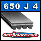 "650J4 Poly-V Belt (Micro-V): Metric PJ1651 Motor Belt. 65"" L, 4 Ribs."