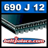 690J12 Poly-V Belt (Micro-V): Metric 12-PJ1753 Motor Belt.