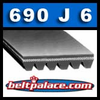 "690J6 Poly V Belt. 69"" Length, 6 Ribs (9/16"" Wide). PJ1753 Metric Poly V."