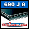 690J8 Poly-V Belt, Industrial Grade. Metric 8-PJ1753 Motor Belt.
