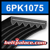 6PK1075 Automotive Serpentine (Micro-V) Belt: 1075mm x 6 ribs. 1075mm Effective Length.