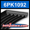 6PK1092 Automotive Serpentine (Micro-V) Belt: 1092mm x 6 ribs. 1092mm Effective Length.