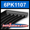 6PK1107 Automotive Serpentine (Micro-V) Belt: 1107mm x 6 ribs. 1107mm Effective Length.
