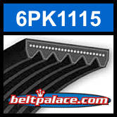 6PK1115 Automotive Serpentine (Micro-V) Belt: 1115mm x 6 ribs. 1115mm Effective Length.