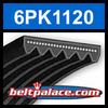 6PK1120 Automotive Serpentine (Micro-V) Belt: 1120mm x 6 ribs. 1120mm Effective Length.