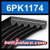 6PK1174 Automotive Serpentine (Micro-V) Belt: 1174mm x 6 ribs. 1174mm Effective Length.