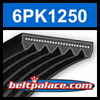 6PK1250 Automotive Serpentine (Micro-V) Belt: 1250mm x 6 ribs. 1250mm Effective Length.