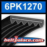 6PK1270 Automotive Serpentine (Micro-V) Belt: 1270mm x 6 ribs. 1270mm Effective Length.