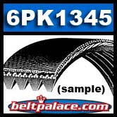 6PK1345 Belt. Heavy Duty Automotive Serpentine belt. Replaces  Gates K060529, Jobber 530K6.