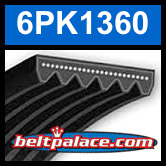 6PK1360 Automotive Serpentine (Micro-V) Belt: 1360mm x 6 ribs. 1360mm Effective Length.