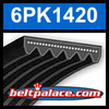 6PK1420 Automotive Serpentine (Micro-V) Belt: 1420mm x 6 ribs. 1420mm Effective Length.